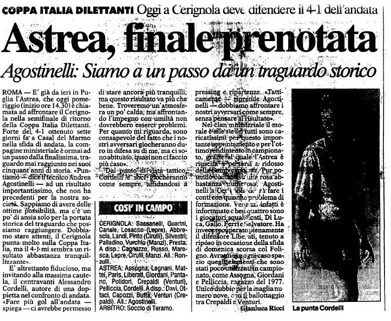 ASTREA ARTICOLO CORRIERE DELLO SPORT