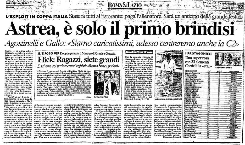 ARTICOLO CORRIERE DELLO SPORT