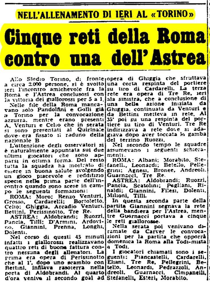 GARA AMICHEVOLE ASTREA-ROMA