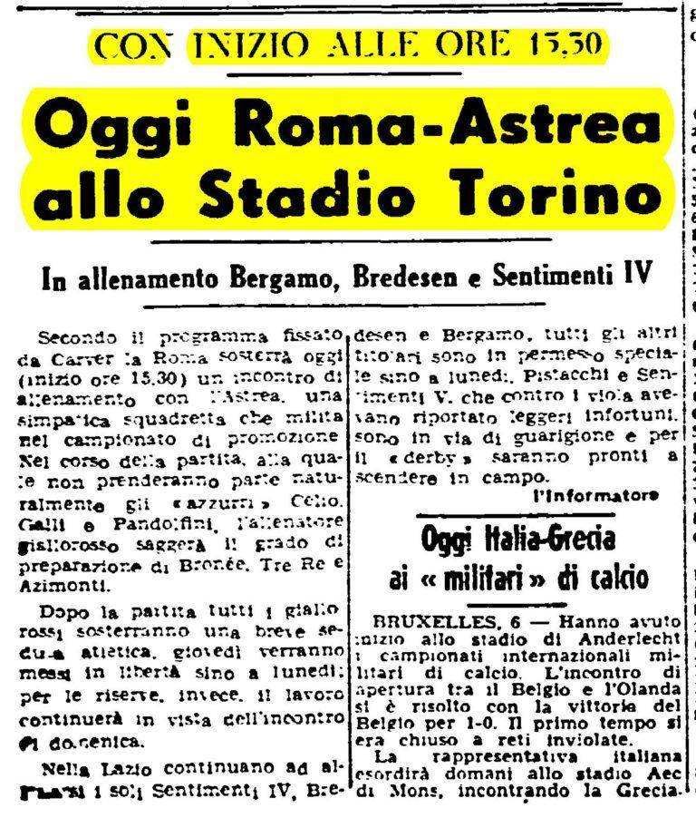 ARTICOLO GARA AMICHEVOLE ASTREA-ROMA