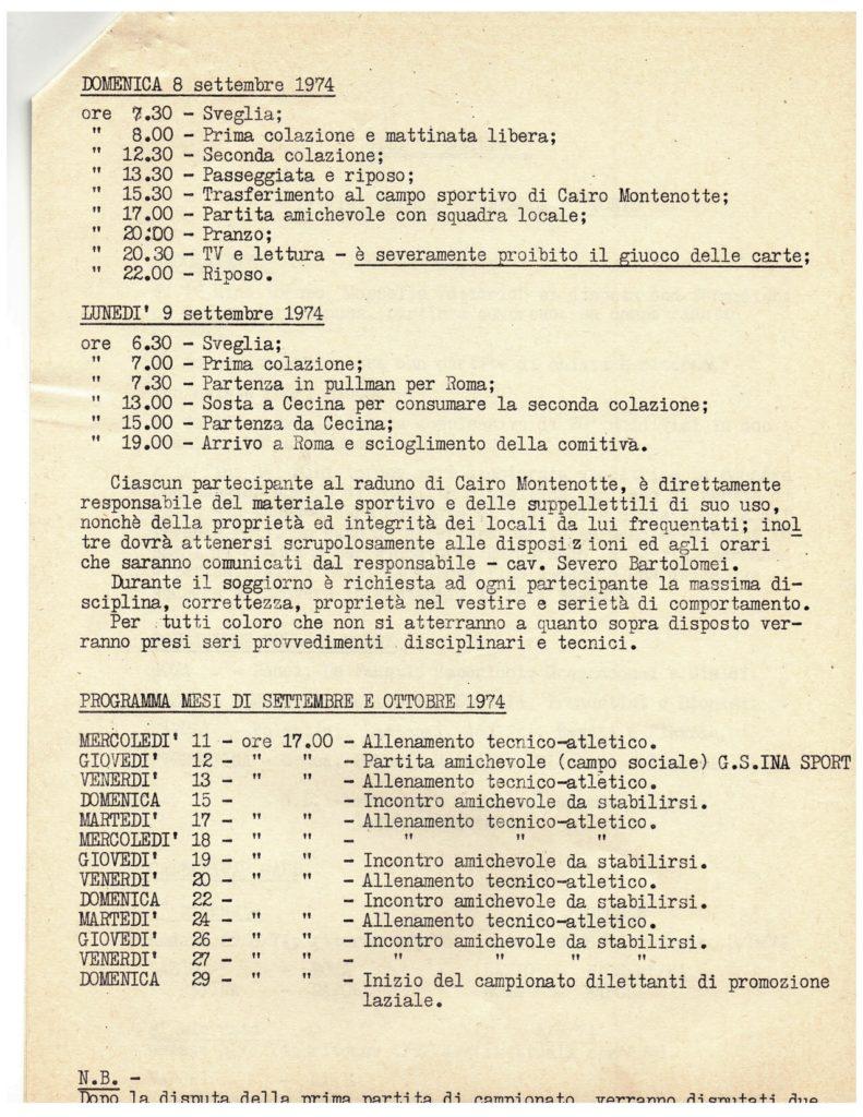 astrea 1974-75 RITIRO PRE CAMPIONATO