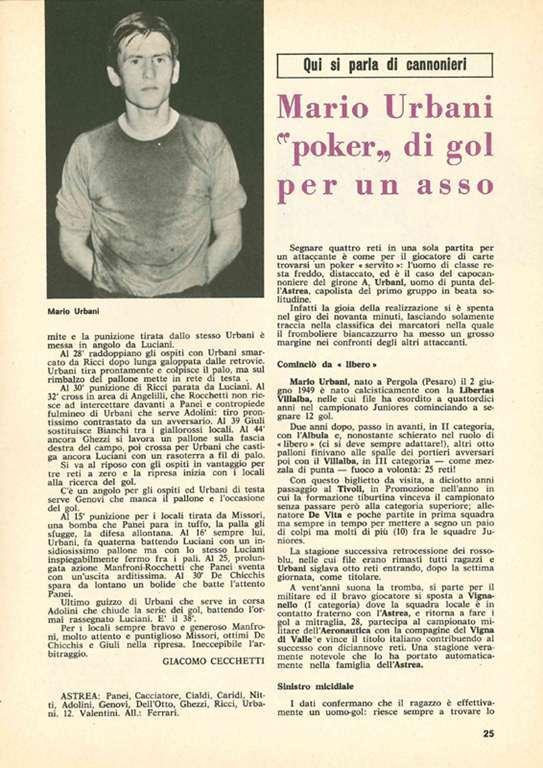 MARIO URBANI CALCIATORE ASTREA